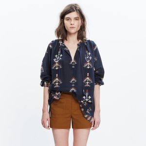 Madewell Folkstitch Popover Top Cotton Navy S